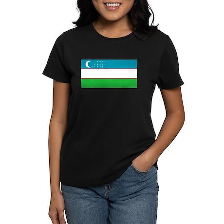 Uzbekistan Flag Women's Dark T-Shirt