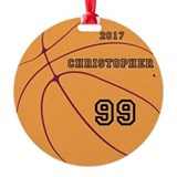 Personalized boys basketball Round Ornament
