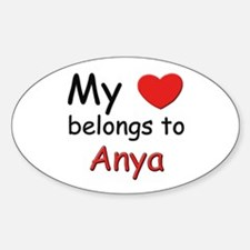 My heart belongs to anya Oval Decal