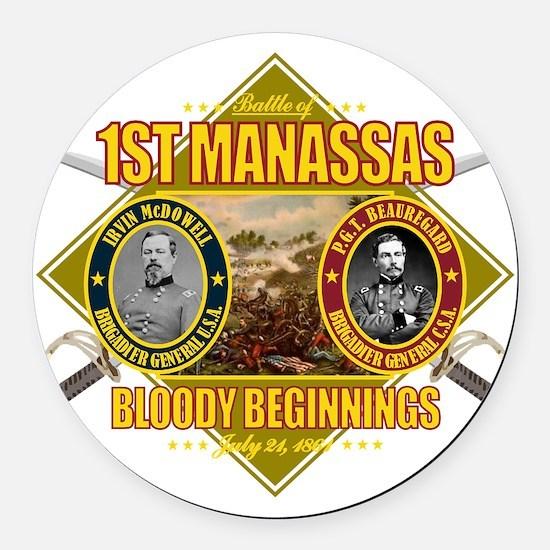 1st Manassas (battle)1 Round Car Magnet