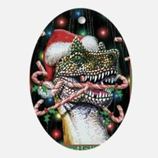 Happy Holidays Dinosaur Oval Ornament
