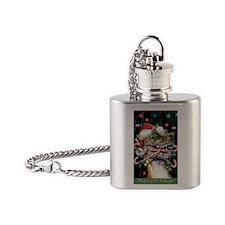 Happy Holidays Dinosaur Flask Necklace
