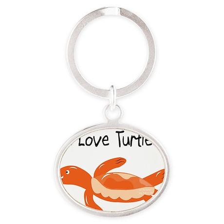 turk_turtle_orange Oval Keychain