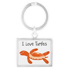 turk_turtle_orange Landscape Keychain