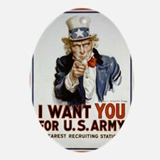 WWIIuncleSam Oval Ornament