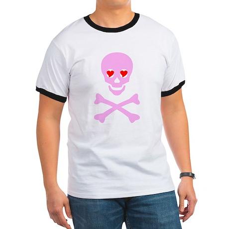 Pink Skull & Crossbones Ringer T