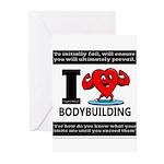I Love Bodybuilding Greeting Cards