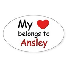 My heart belongs to ansley Oval Decal
