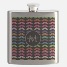 Girly Colorful Mustache Pattern Monogram Flask
