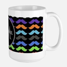 Girly Colorful Mustache Pattern Monogram Mugs