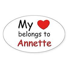 My heart belongs to annette Oval Decal