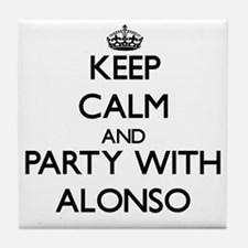Keep Calm and Party with Alonso Tile Coaster