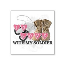 "In love Soldier Square Sticker 3"" x 3"""