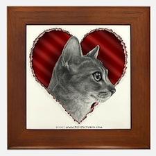 Abyssinian Cat Heart Framed Tile