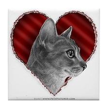 Abyssinian Cat Heart Tile Coaster