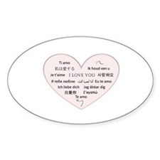 I Love You - Languages Oval Decal