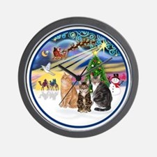 R-Xmas Magic - Three cats (AmSH) Wall Clock