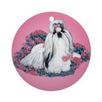 Shih Tzu and Flowers Ornament (Round)