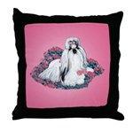 Shih Tzu and Flowers Throw Pillow
