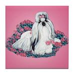 Shih Tzu and Flowers Tile Coaster