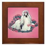 Shih Tzu and Flowers Framed Tile