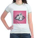 Shih Tzu and Flowers Jr. Ringer T-Shirt