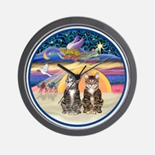 R-Xmas Star - Two Tabby cats Wall Clock