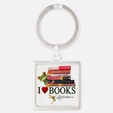 shirt - frogs love books Square Keychain