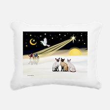 Xmas Dove - Three Siames Rectangular Canvas Pillow