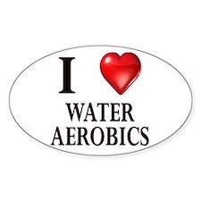 Love Water Aerobics Oval Decal