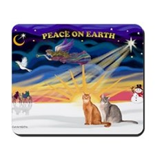 Xmas Sunrise - Two Abyssinian cats Mousepad
