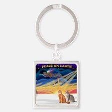 Xmas Sunrise - Two Abyssinian cats Square Keychain