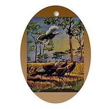 FIN-wild-turkey-art-GRTING Oval Ornament