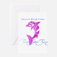 Emily pink dolphin Greeting Cards (Pk of 10)
