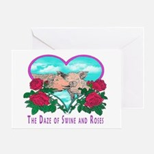 SWINE AND ROSES 2 mouse pad  Greeting Card