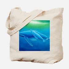 2-Mother and daughter whale poster Tote Bag