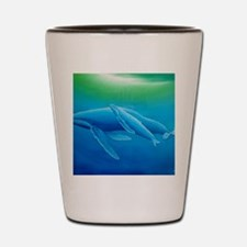 2-Mother and daughter whale poster Shot Glass