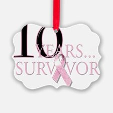10 Years Breast Cancer Survivor Ornament