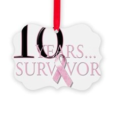 10 Years Breast Cancer Survivor Picture Ornament