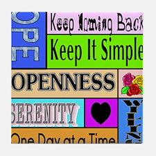 12 step sayings Tile Coaster