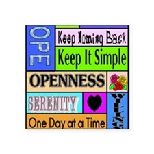 """12 step sayings Square Sticker 3"""" x 3"""""""
