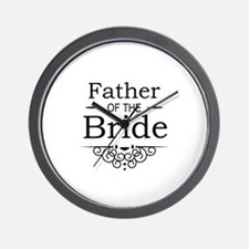Father of the Bride black Wall Clock