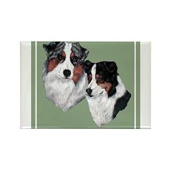 Australian Shepherd Twosome Rectangle Magnet (10 p
