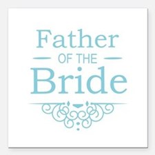 """Father of the Bride blue Square Car Magnet 3"""" x 3"""""""