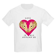 Giraffe Valentine Kids T-Shirt