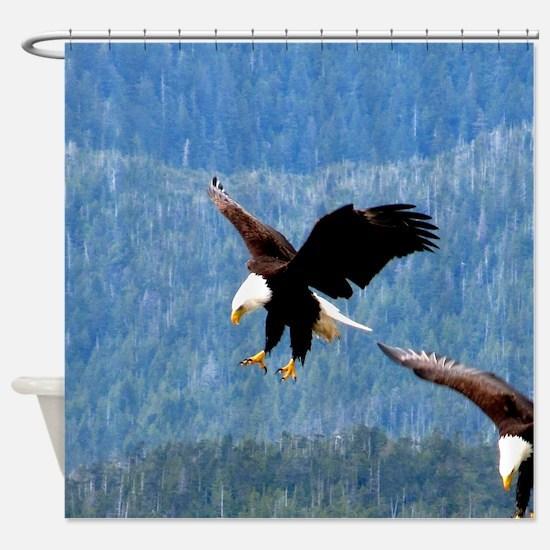 Solid landing Bald Eagle Shower Curtain