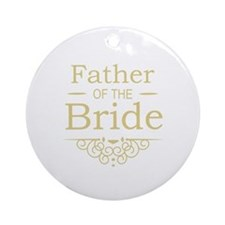 Father of the Bride gold Ornament (Round)