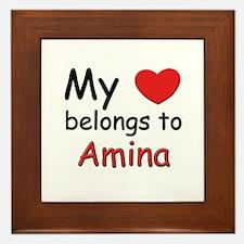 My heart belongs to amina Framed Tile