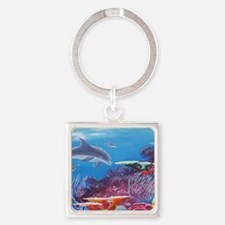 Dolphins Square Keychain