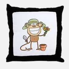 Gardening Monkey Throw Pillow